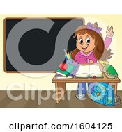 Caucasian School Girl Raising Her Hand At Her Desk By A Blackboard