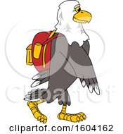 Clipart Of A Bald Eagle School Mascot Character Wearing A Backpack Royalty Free Vector Illustration