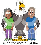 Clipart Of A Bald Eagle School Mascot Character With Students Royalty Free Vector Illustration