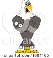 Clipart Of A Bald Eagle School Mascot Character With Folded Arms Royalty Free Vector Illustration