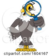 Bald Eagle School Mascot Character Looking Through a Magnifying Glass