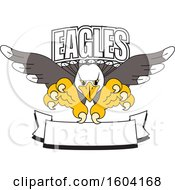 Clipart Of A Bald Eagle School Mascot Character Swooping Over A Banner Royalty Free Vector Illustration