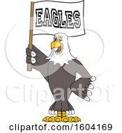 Poster, Art Print Of Bald Eagle School Mascot Character Holding A Flag