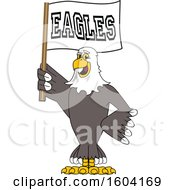 Clipart Of A Bald Eagle School Mascot Character Holding A Flag Royalty Free Vector Illustration