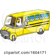 Clipart Of A Bald Eagle School Mascot Character Driving A School Bus Royalty Free Vector Illustration