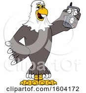 Bald Eagle School Mascot Character Holding a Cell Phone