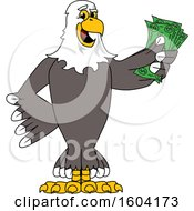 Clipart Of A Bald Eagle School Mascot Character Holding Cash Money Royalty Free Vector Illustration