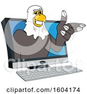 Clipart Of A Bald Eagle School Mascot Character Emerging From A Computer Screen Royalty Free Vector Illustration