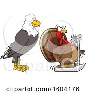 Clipart Of A Bald Eagle School Mascot Character Watching A Turkey Bird Weighing Itself Royalty Free Vector Illustration by Toons4Biz