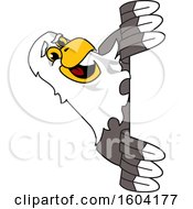 Clipart Of A Bald Eagle School Mascot Character Looking Around A Sign Royalty Free Vector Illustration