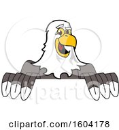 Clipart Of A Bald Eagle School Mascot Character Over A Sign Royalty Free Vector Illustration by Toons4Biz