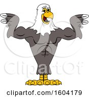 Clipart Of A Bald Eagle School Mascot Character Flexing His Muscles Royalty Free Vector Illustration