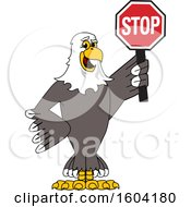 Clipart Of A Bald Eagle School Mascot Character Holding A Stop Sign Royalty Free Vector Illustration by Toons4Biz
