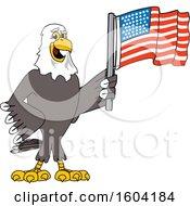 Poster, Art Print Of Bald Eagle School Mascot Character Holding An American Flag
