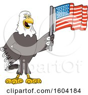 Clipart Of A Bald Eagle School Mascot Character Holding An American Flag Royalty Free Vector Illustration