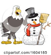 Clipart Of A Bald Eagle School Mascot Character With A Christmas Snowman Royalty Free Vector Illustration
