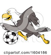 Clipart Of A Bald Eagle School Mascot Character Playing Soccer Royalty Free Vector Illustration by Toons4Biz