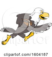 Clipart Of A Bald Eagle School Mascot Character Playing Football Royalty Free Vector Illustration