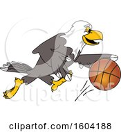 Poster, Art Print Of Bald Eagle School Mascot Character Playing Basketball