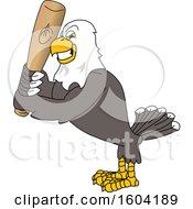 Poster, Art Print Of Bald Eagle School Mascot Character Holding A Baseball Bat