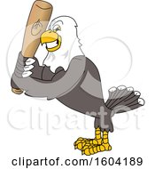 Bald Eagle School Mascot Character Holding A Baseball Bat