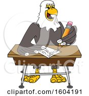 Clipart Of A Bald Eagle School Mascot Character Writing At A Desk Royalty Free Vector Illustration by Toons4Biz