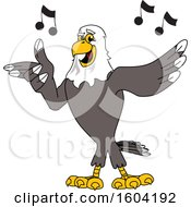 Clipart Of A Bald Eagle School Mascot Character Singing Royalty Free Vector Illustration by Toons4Biz