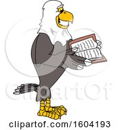 Clipart Of A Bald Eagle School Mascot Character Reading A Book Royalty Free Vector Illustration