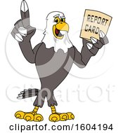 Clipart Of A Bald Eagle School Mascot Character Holding A Report Card Royalty Free Vector Illustration by Toons4Biz