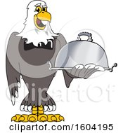 Clipart Of A Bald Eagle School Mascot Character Holding A Platter Royalty Free Vector Illustration
