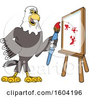 Clipart Of A Bald Eagle School Mascot Character Painting A Canvas Royalty Free Vector Illustration