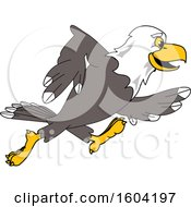 Clipart Of A Bald Eagle School Mascot Character Running Royalty Free Vector Illustration by Toons4Biz