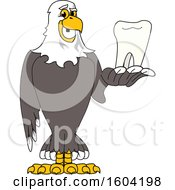 Clipart Of A Bald Eagle School Mascot Character Holding A Tooth Royalty Free Vector Illustration by Toons4Biz