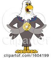 Clipart Of A Bald Eagle School Mascot Character Wearing A Sports Medal Royalty Free Vector Illustration