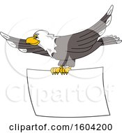 Clipart Of A Bald Eagle School Mascot Character Flying With A Blank Banner Royalty Free Vector Illustration