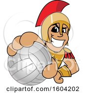 Clipart Of A Spartan Or Trojan Warrior School Mascot Character Grabbing A Volleyball Royalty Free Vector Illustration