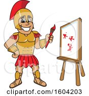 Clipart Of A Spartan Or Trojan Warrior School Mascot Character Painting A Canvas Royalty Free Vector Illustration