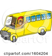 Clipart Of A Spartan Or Trojan Warrior School Mascot Character Driving A School Bus Royalty Free Vector Illustration
