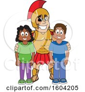 Clipart Of A Spartan Or Trojan Warrior School Mascot Character With Students Royalty Free Vector Illustration