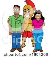 Clipart Of A Spartan Or Trojan Warrior School Mascot Character With Parents Royalty Free Vector Illustration