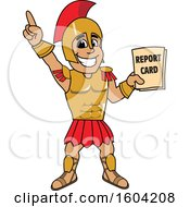 Clipart Of A Spartan Or Trojan Warrior School Mascot Character Holding A Report Card Royalty Free Vector Illustration