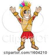 Clipart Of A Spartan Or Trojan Warrior School Mascot Character With A Mohawk Royalty Free Vector Illustration