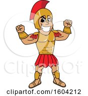 Clipart Of A Spartan Or Trojan Warrior School Mascot Character Flexing His Muscles Royalty Free Vector Illustration by Toons4Biz