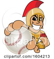 Clipart Of A Spartan Or Trojan Warrior School Mascot Character Grabbing A Baseball Royalty Free Vector Illustration by Toons4Biz