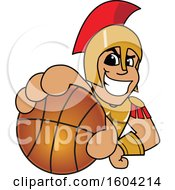 Clipart Of A Spartan Or Trojan Warrior School Mascot Character Grabbing A Basketball Royalty Free Vector Illustration by Toons4Biz