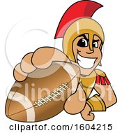 Clipart Of A Spartan Or Trojan Warrior School Mascot Character Grabbing A Football Royalty Free Vector Illustration by Toons4Biz