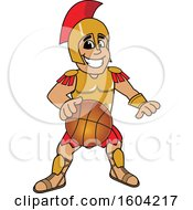 Poster, Art Print Of Spartan Or Trojan Warrior School Mascot Character Dribbling A Basketball