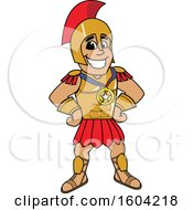 Clipart Of A Spartan Or Trojan Warrior School Mascot Character Wearing A Sports Medal Royalty Free Vector Illustration by Toons4Biz
