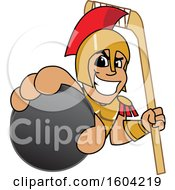 Clipart Of A Spartan Or Trojan Warrior School Mascot Character Holding A Hockey Puck And Stick Royalty Free Vector Illustration by Toons4Biz