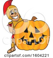 Clipart Of A Spartan Or Trojan Warrior School Mascot Character With A Halloween Pumpkin Royalty Free Vector Illustration by Toons4Biz